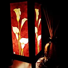 White Lily Crimson Background Handmade Asian Oriental Wood Table Lamp Paper Gift Bedside Night Light Bulbs Bedroom Accessories Home Decor Living Room Bedside Art Garden Outdoor Floor Japanese Modern Vintage Christmas; Canada Plug Only #316