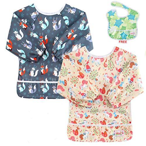 OHBABYKA Toddler Baby Waterproof Sleeved Bib, 6-24 Months -