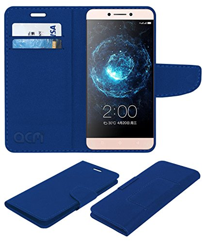 acm mobile leather Flip Cover flap wallet case compatible with leeco le2 pro mobile cover blue