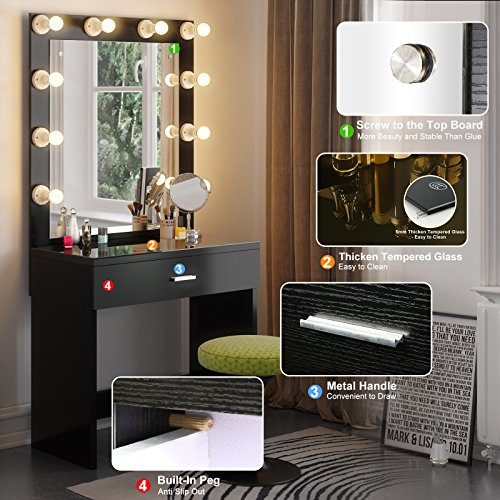 Tribesigns Vanity Set With Lighted Mirror Makeup Vanity Dressing Table Dresser Desk Bedroom