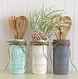 Mason Jar Utensil Holder Set - 3 Piece, Aqua, White, Gray, Kitchen Decor