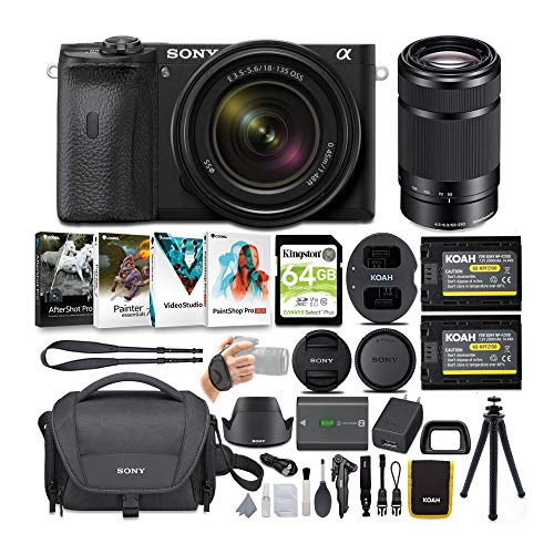 Sony Alpha a6600 APS-C Mirrorless ILC Bundle with 18-135mm and 55-210mm Lenses (8 Items)