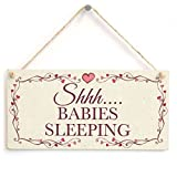 Shhh¡­. Babies Sleeping - Beautiful Handmade Wood Sign Wall Plaque Wooden Hanging Do Not Disturb Child Baby Sleeping Wood Sign Wall Plaque Wooden Hanging Gift For New Parents Twins