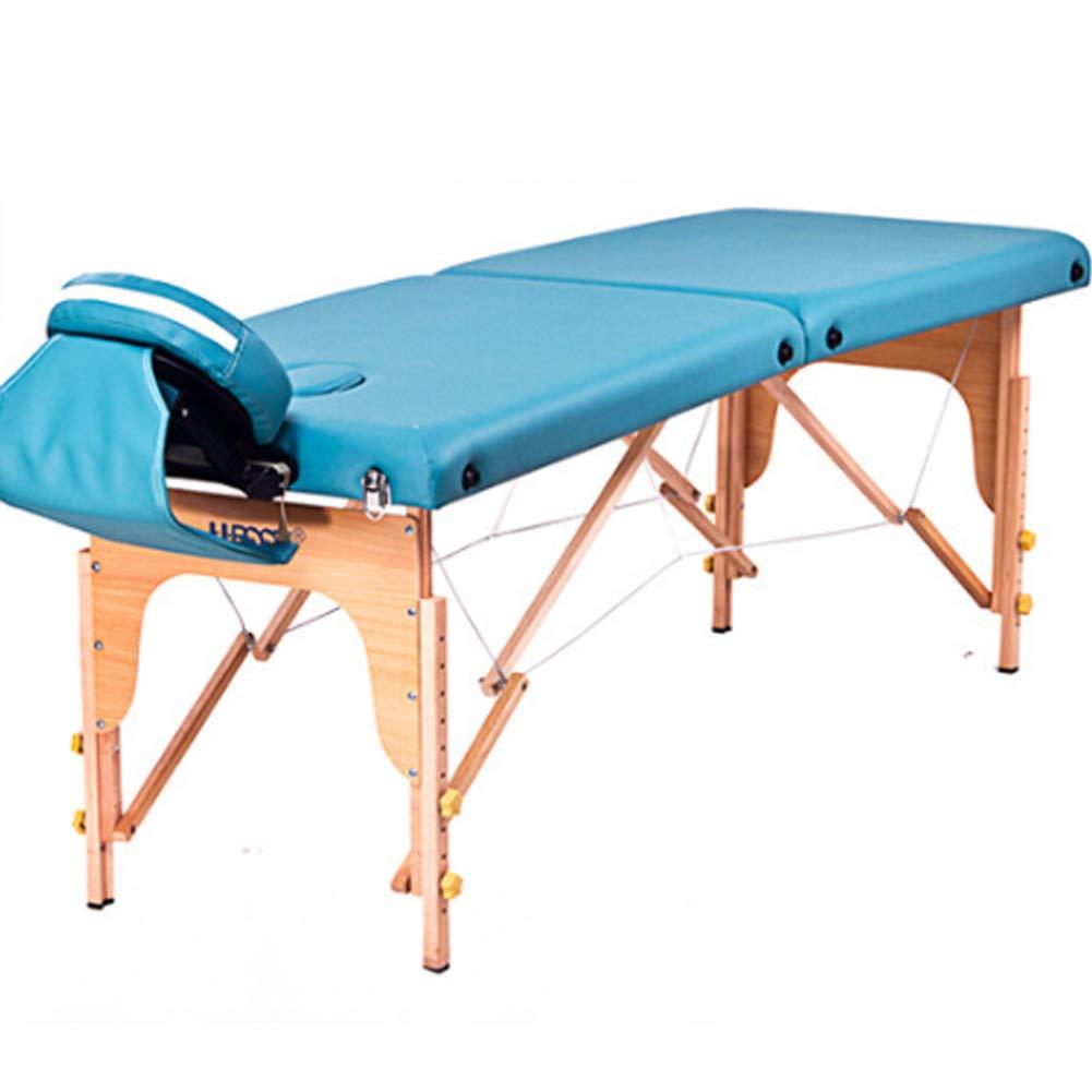 木製折りたたみ式マッサージベッド、調節可能なポータブル軽量美容テーブル、タトゥー/スパ/レイキ/サロン B07T631PYR Blue 186cm*60cm