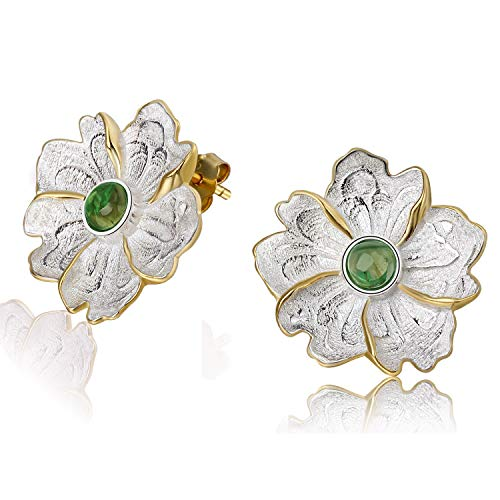 - Lotus Fun S925 Sterling Silver Stud Earrings Natural Stone Peony Flower Dangle Earring Stud for Women and Girls, Handmade Unique Jewelry (Green)