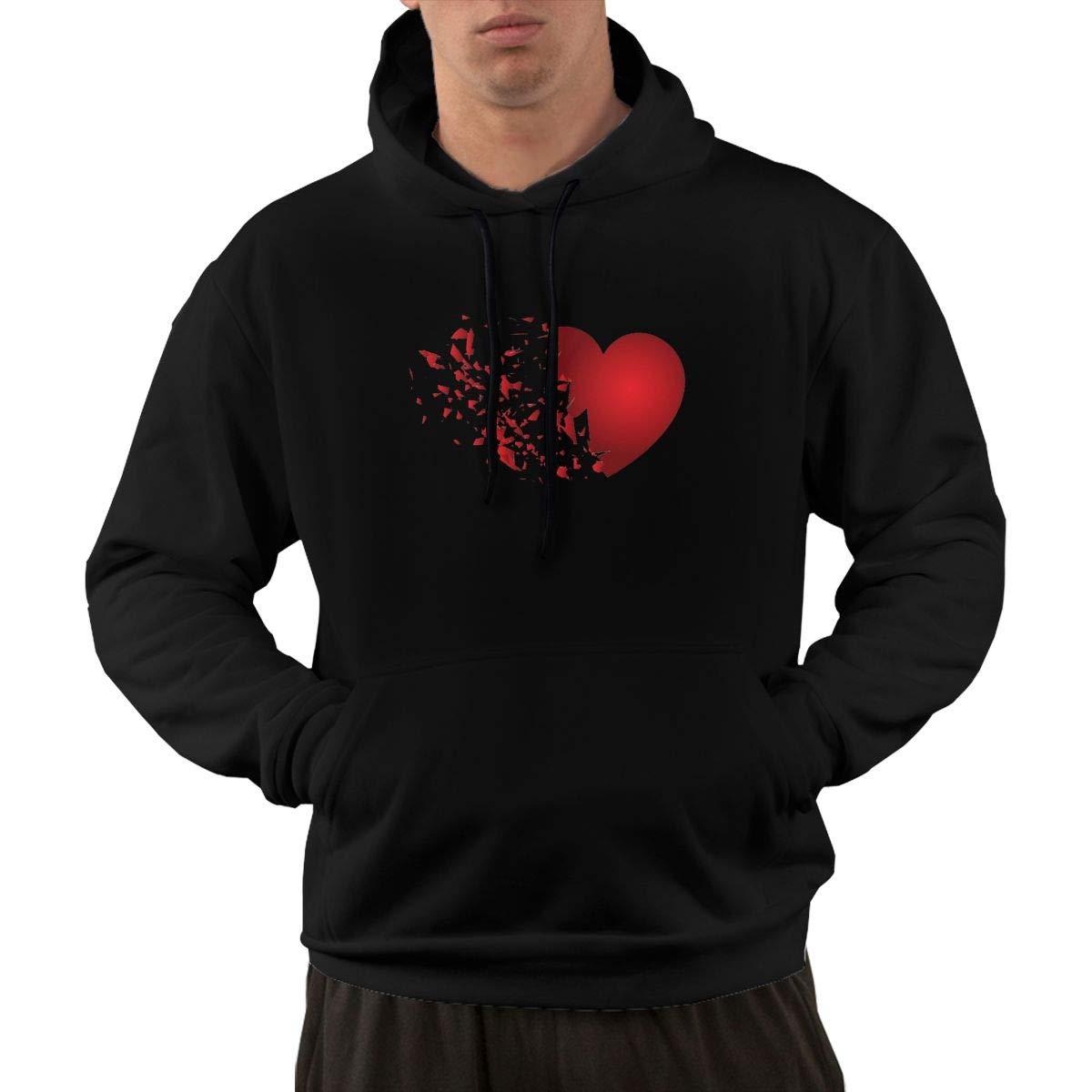 VANMASS Mens Heart Broken Long Sleeve Pullover Hooded Sweatshirt