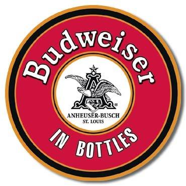 Tin Sign  Budweiser In Bottles