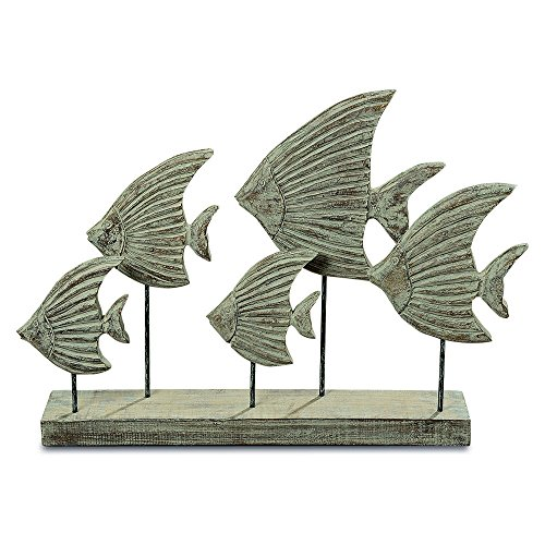 WHW Whole House Worlds Cape Cod 5 Fish Sculpture, Rustic Style, 19 3/4 Inches Long, White, Gray and Natural, Post Mounted Figurine, Painted and Hand Carved Mango Wood, Rectangular Gallery -