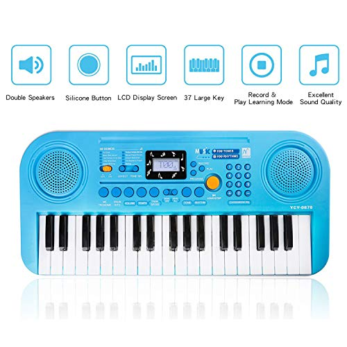 (M SANMERSEN Kids Piano Toys for 3-8 Year Old, LCD Display Screen Double Speakers with Piano Score Multi-Function Electronic Piano Keyboard for Kids 3 4 5)