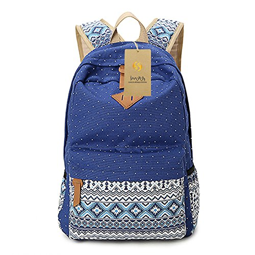 Imyth Bohemia Cute Backpack Casual School Bag Daypack Travel Bag for Girls ( Dark Blue )