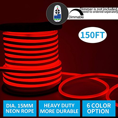 shine decor Led Neon Lights, dimmable Red Rope Lights, Update Waterproof 2835 120Leds/M, 150ft, 110V, Included All Necessary Accessories, Flex Durable Super Bright for Outdoor Decor Or Commercial Use