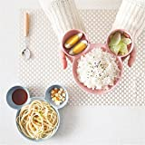 kids mickey mouse dishes - Dewin Kids Plates - Wheat Straw Children's Plate Cartoon Mickey Mouse Kids Bowl Dish Tray Cute (Color : Pink)