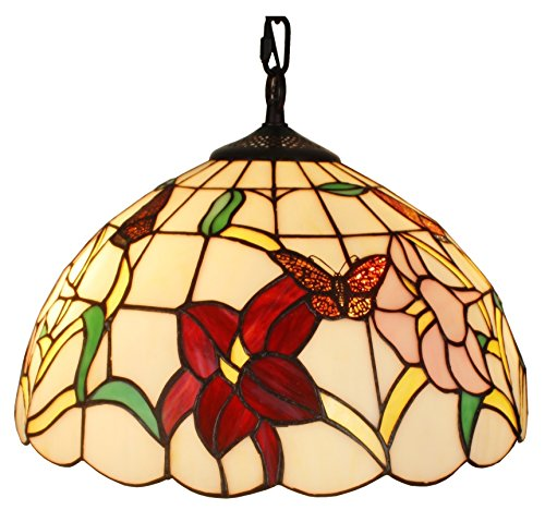 Amora Lighting AM077HL14 Tiffany Style Floral Hanging Lamp 14 Inches by Amora Lighting