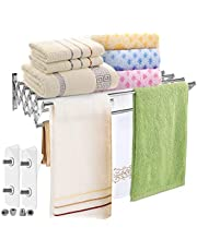 MaiHongda Wall Mounted Drying Rack Stainless Steel Clothes Retractable Folding Wall Hanger Hanging Towel Holder for Laundry Bathroom