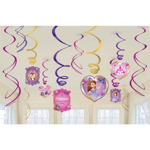Amscan Sofia the First Hanging Party Decorations, 1 Piece, Made from Foil, Multicolor, 3 Swirls w/Cutouts, 7