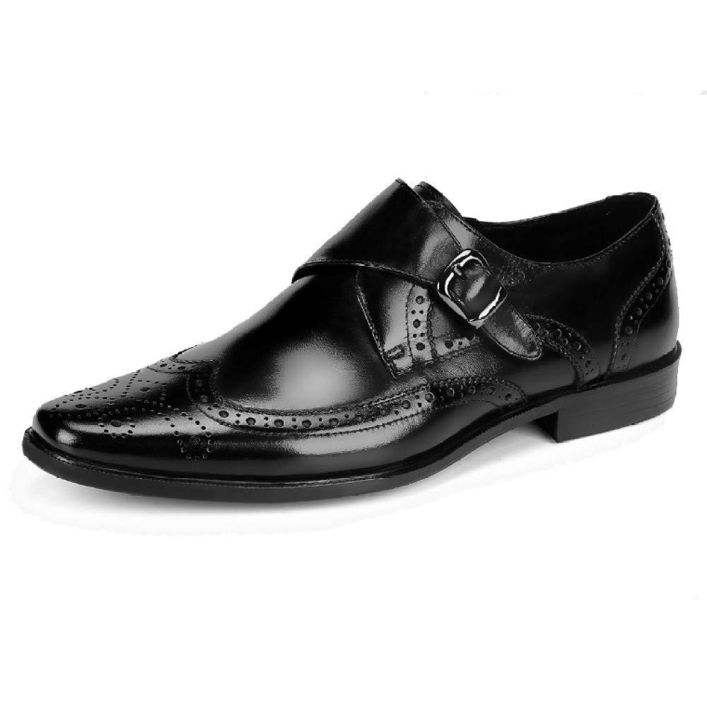 Männer Breathable Lederschuhe Geschäft Geschnitzt Broch Breathable Männer Wearable schwarz e6952f