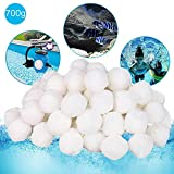 Filter Balls, OOOUSE 700g Pool Filter Balls Reusable Swimming Pool Cleaning Balls Fiber Filter Media for Swimming Pool Sand Filters Aquarium Filters Alternative to Sand Eco-Friendly Durable