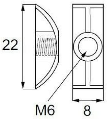 M8 8mm Replacement Threaded Half Moon Mini Luna Washers Nuts For Bunk Beds Cots