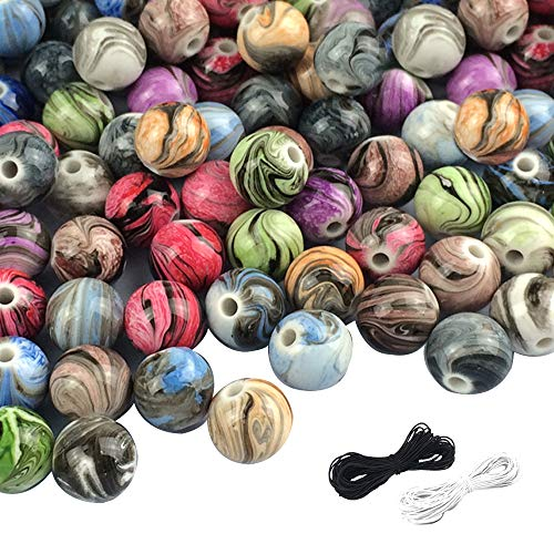 (SHAN RUI 300pcs 8mm Multi Color Acrylic Round Loose Beads in Ink Patterns with 1 Black and 1 White Cord for Bracelets Jewelry Making)