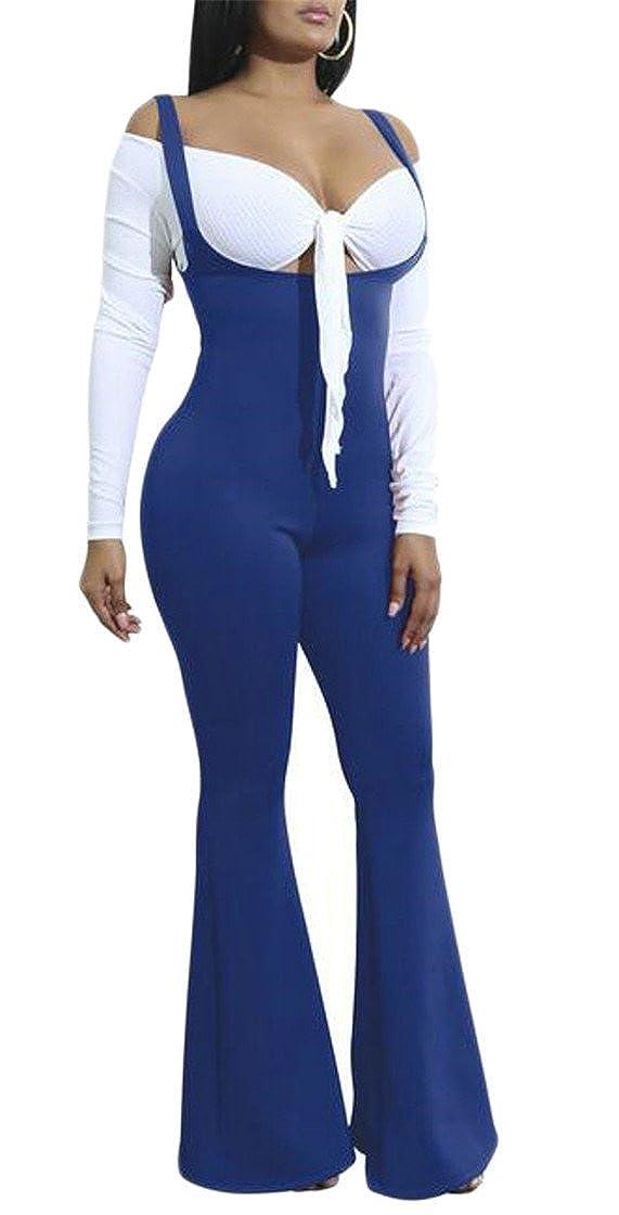 M/&S/&W Womens Slim High Waist Flare Bottom Pants Overalls Jumpsuits