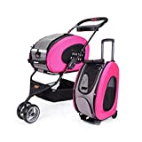 ibiyaya FS1009-P 5-in-1 Combo Eva Pet Carrier/Stroller, Hot Pink
