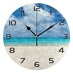 One Bear Beautiful Beach Seashore Sea Ocean Blue Sky Wall Clock, Non Ticking Quartz Analog Silent Wall Clocks Battery Operated for Kitchen Bathroom Living Room Home Art Decor