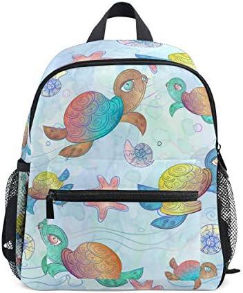 カラフルなウミガメのアート幼児バックパックブックバッグミニショルダーバッグ1-6年旅行男の子女の子子供用チェストストラップホイッスル