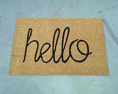 Hello Script Coir Doormat