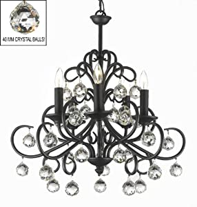 """Bellora Crystal Wrought Iron Chandelier Chandeliers Lighting with Faceted Crystal Balls H 22"""" W 20"""""""