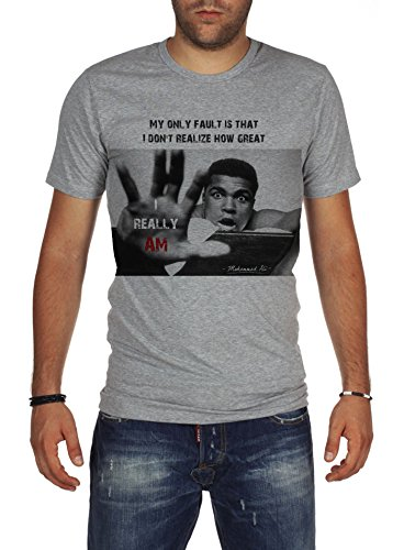 Palalula Men's Boxing Cassius Clay Muhammad Ali T-Shirt XXL Grey