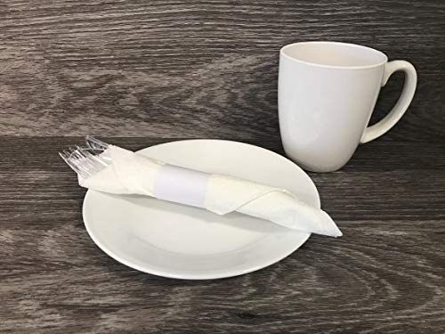 MH PAPER Napkin Bands, White, Self-Adhesive Safety Glue, Bond Paper Construction, 2000 Per Box, 4-1/4