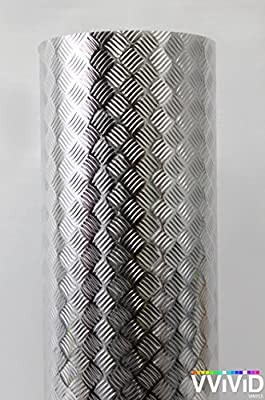 Industrial Utility Diamond Plate Metallic Chrome Finish Vinyl Wrap Contact Paper Adhesive Roll