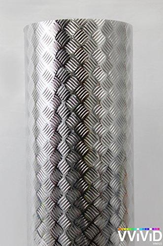 Plate Flooring Vinyl Diamond (Industrial Utility Diamond Plate Metallic Chrome Finish Vinyl Wrap Sheet Roll Adhesive Roll (17.8