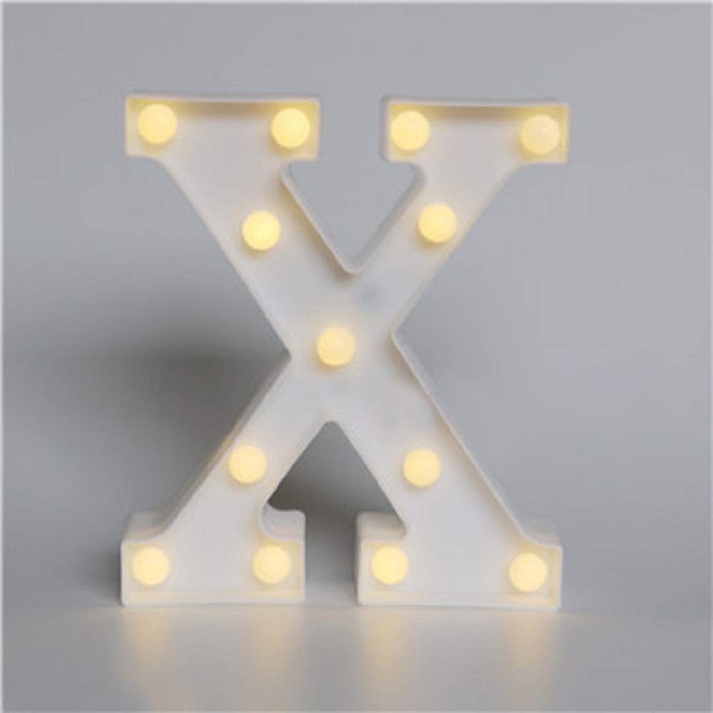 YACOCOS Romantic Marquee LED Letter Night Light 3D Alphabet Wall Decoration Lamps Home Holidays Party Wedding Christmas Decor DIY (X)