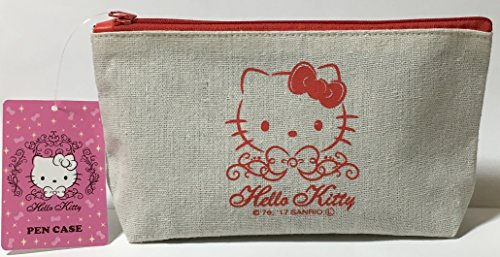 Sanrio Hello Kitty Pencil Case Bag Pouch Canvas Stationary Makeup Cosmetic Bag (Red)