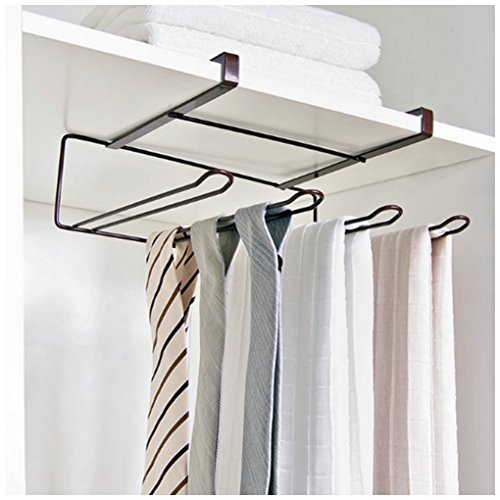 BAMONA Multifunctional Kitchen Bathroom Cabinet Behind Door Shelf Roll Paper Kitchenware Towel Hanging Storage Rack (Bronze) by BAMONA