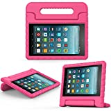 2017 Fire 7 inch case- Kids Shock Proof Convertible Handle Light Weight Super Protective Stand Cover for Amazon Fire Tablet (7' Display -Universal 2015 Fire 7 inch )(2017 2015 Fire 7', Rose)