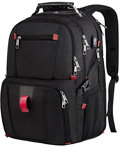 Travel Laptop Backpack, Extra Large College School Backpack w/USB Charging Port for Mens and Women,TSA Friendly Water-Resistant Big Business Computer Backpack Bag Fit 17.3 Inch Laptops Notebook,Black