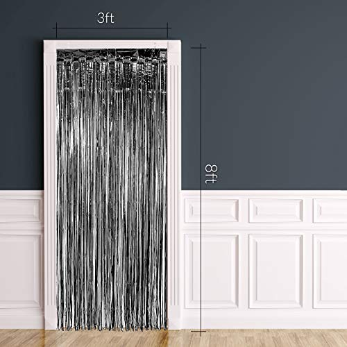 Halloween Wedding Entrance (Black FOIL Fringe Curtain | Metallic Shimmering Tinsel Decoration | Great for Party Décor, Photo Backdrops and More | Easy Installation | 3' x)