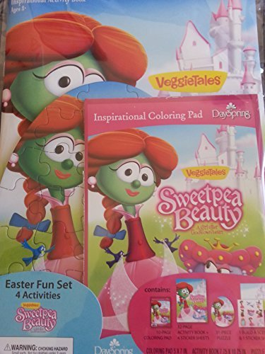 Dayspring Veggie Tales 'Sweetpea Beauty Easter Fun Activity Set with Coloring Pad, Activity Book, Stickers, Build a Scene Sheet, and Puzzle ()