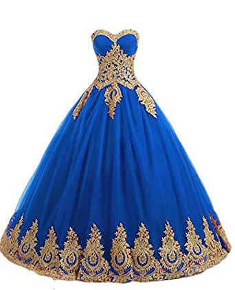 QiJunGe Gold Lace Appliques Ball Gowns Quinceanera Dress Corset Prom Gowns Blue US 20W