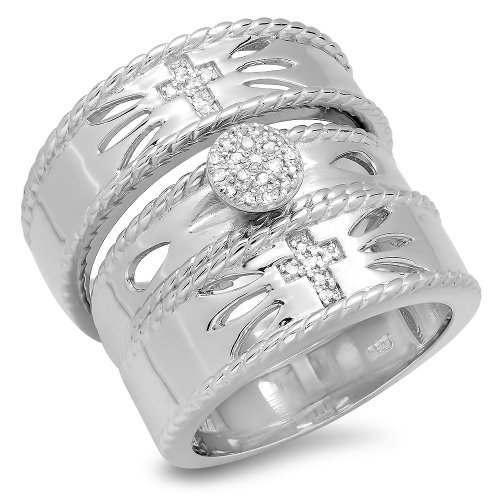 0.15 Carat (ctw) Sterling Silver Round Diamond Men & Women's Vintage Cross Design Ring Trio Bridal Set by DazzlingRock Collection