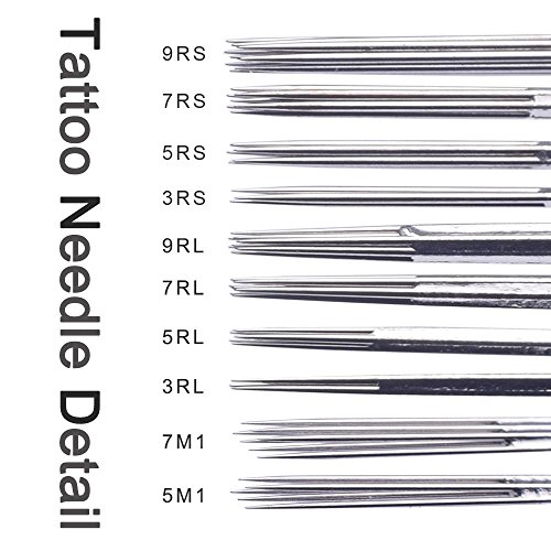 Atomus 100 Pieces Mixed Tattoo Needles- 3rl, 5rl, 7rl, 9rl, 3rs, 5rs, 7rs, 9rs, 5m1, 7m1, 100 Count for Tattoo Machine Tattoo Supply (mix)