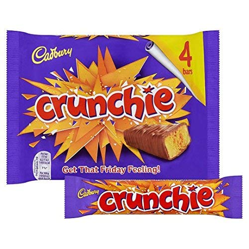 New Original Cadbury Crunchie Chocolate Bar Pack Imported From The UK England Crunchie Chocolate Multipack The Very Best Of British Chocolate Honey Comb Crunchie (Crunchy Candy Bar)
