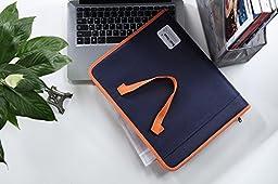 Snail&Hawk Fabric Accordion Expanding File-Folder,13-Pockets,Zipper Closure,A4 Size,Orange Handles(Dark Blue)