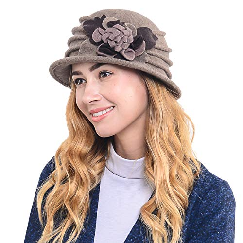 Women's French Beret - 100% Wool Cloche Hat - Beret Beanie for Winter C020 (Brown)