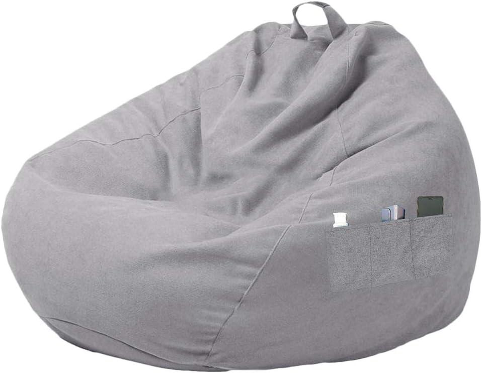 miuline - Funda de puf grande con tres bolsillos laterales, para adultos y niños, con respaldo alto, sin relleno