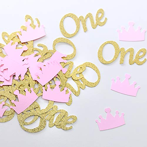 One Table Confetti. Gold and Pink ONE and Crown Confetti.