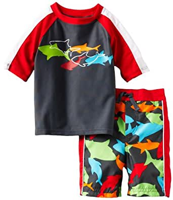 ABSORBA Baby Boys' Shark Two Piece Swimsuit Set, Red, 18 Months