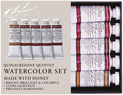 - M. Graham 1/2-Ounce Tube Watercolor Paint Set, Quinacridone Quintet 5